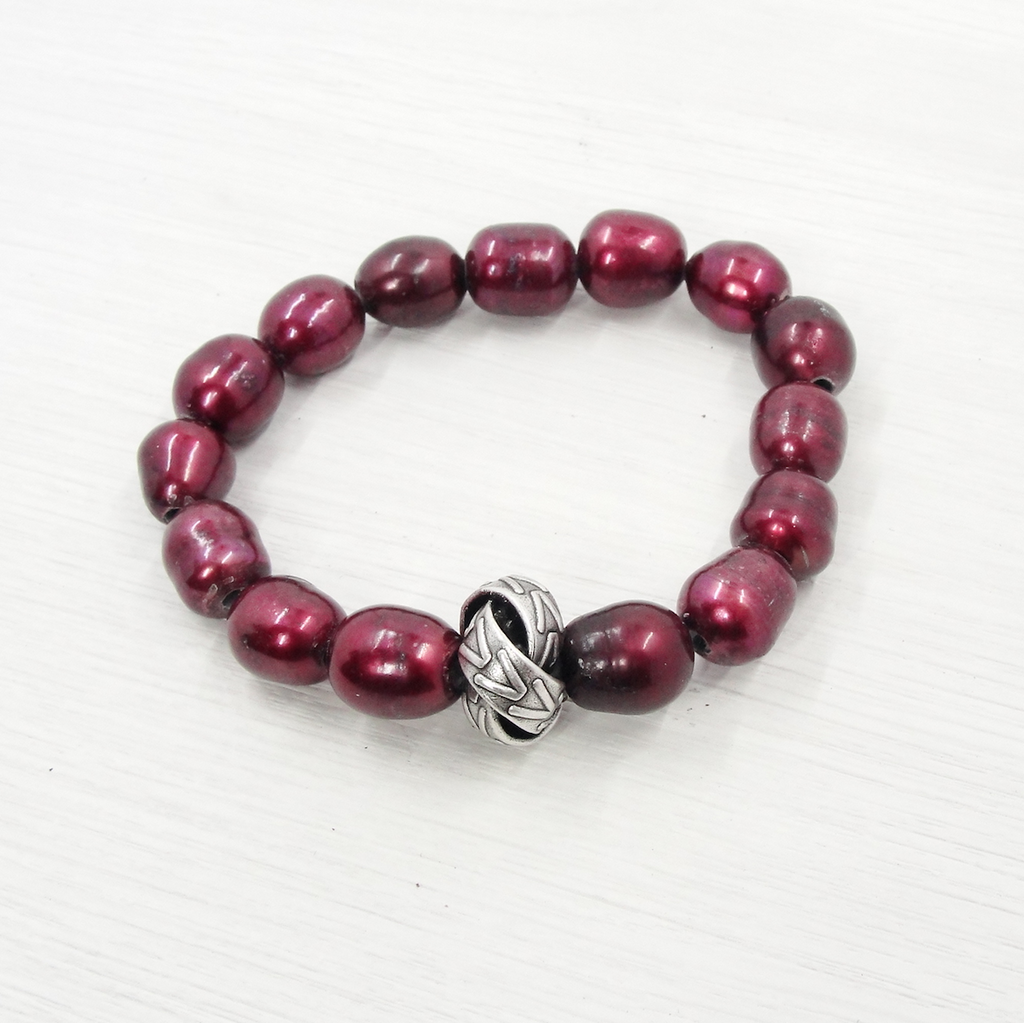Red Pearl & Love Knot Stretch Bracelet