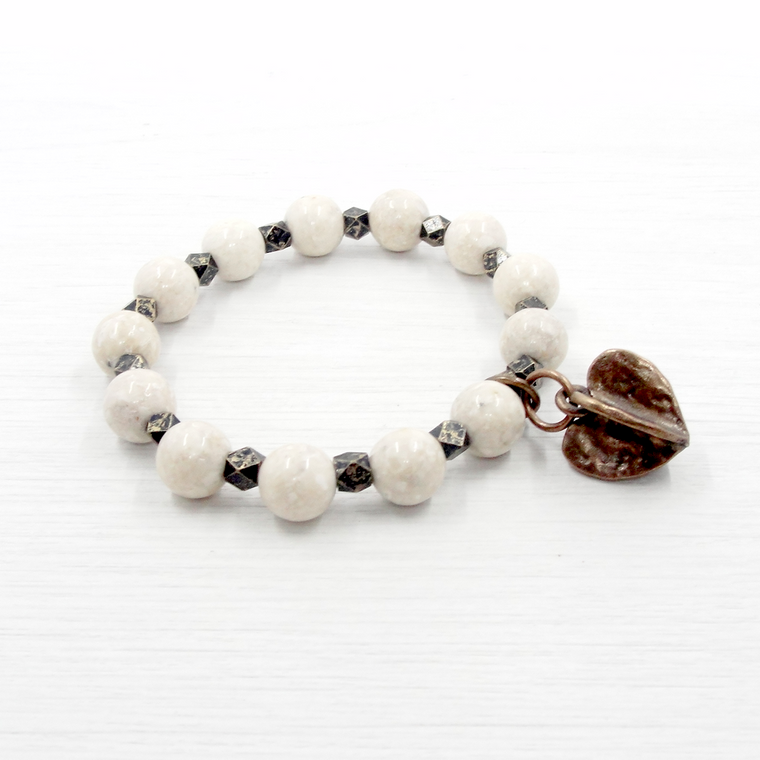 Riverstone & Bronze Heart Charm Stretch Bracelet