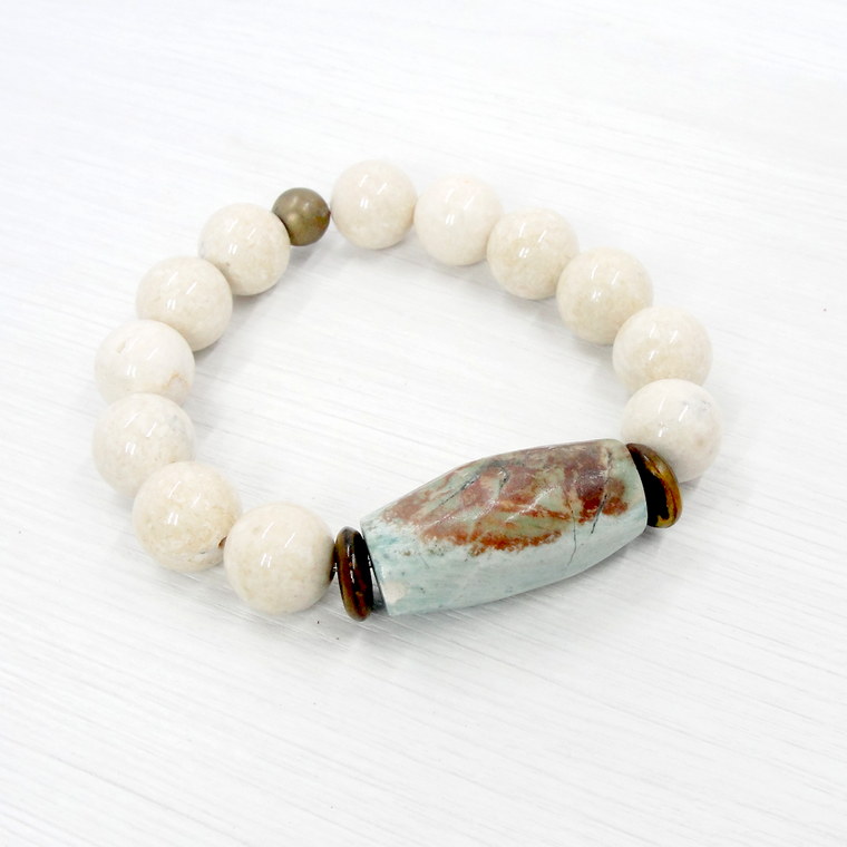 River Stone and Turquoise Stretch Bracelet