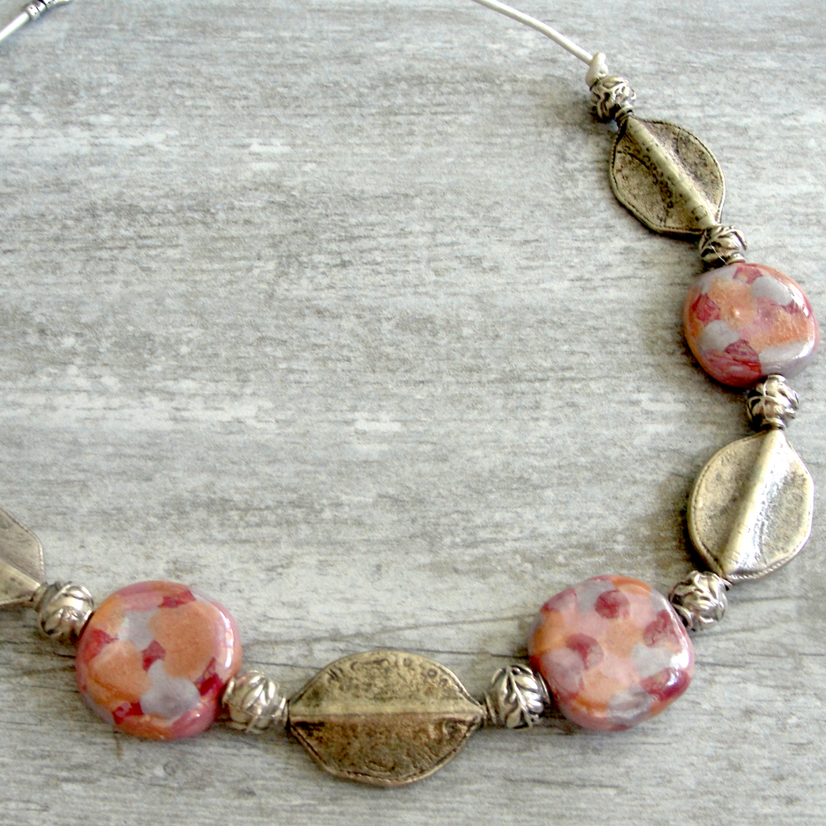 Pink & Rose Kauri Silver Leaf Necklace