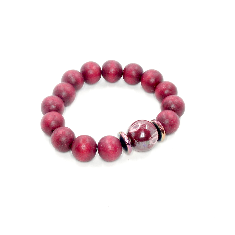 Red Wood Stretch Bracelet with Kazuri Bead