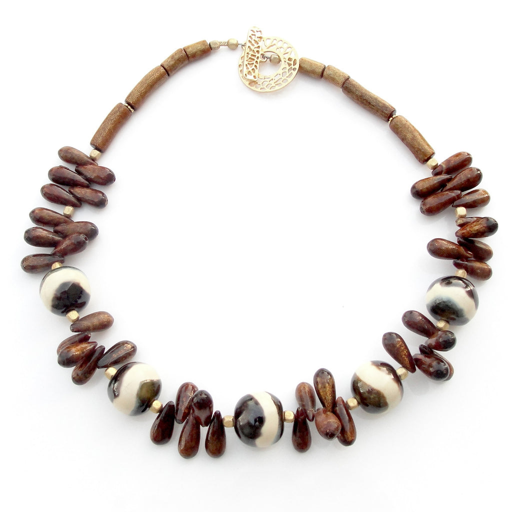 Golden Coral  Statement Necklace