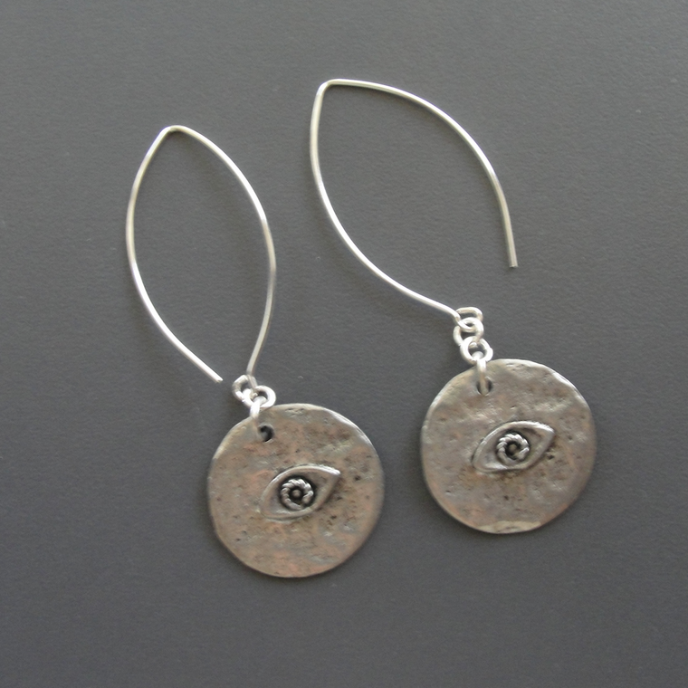 Silver Evil Eye Dangle Earrings