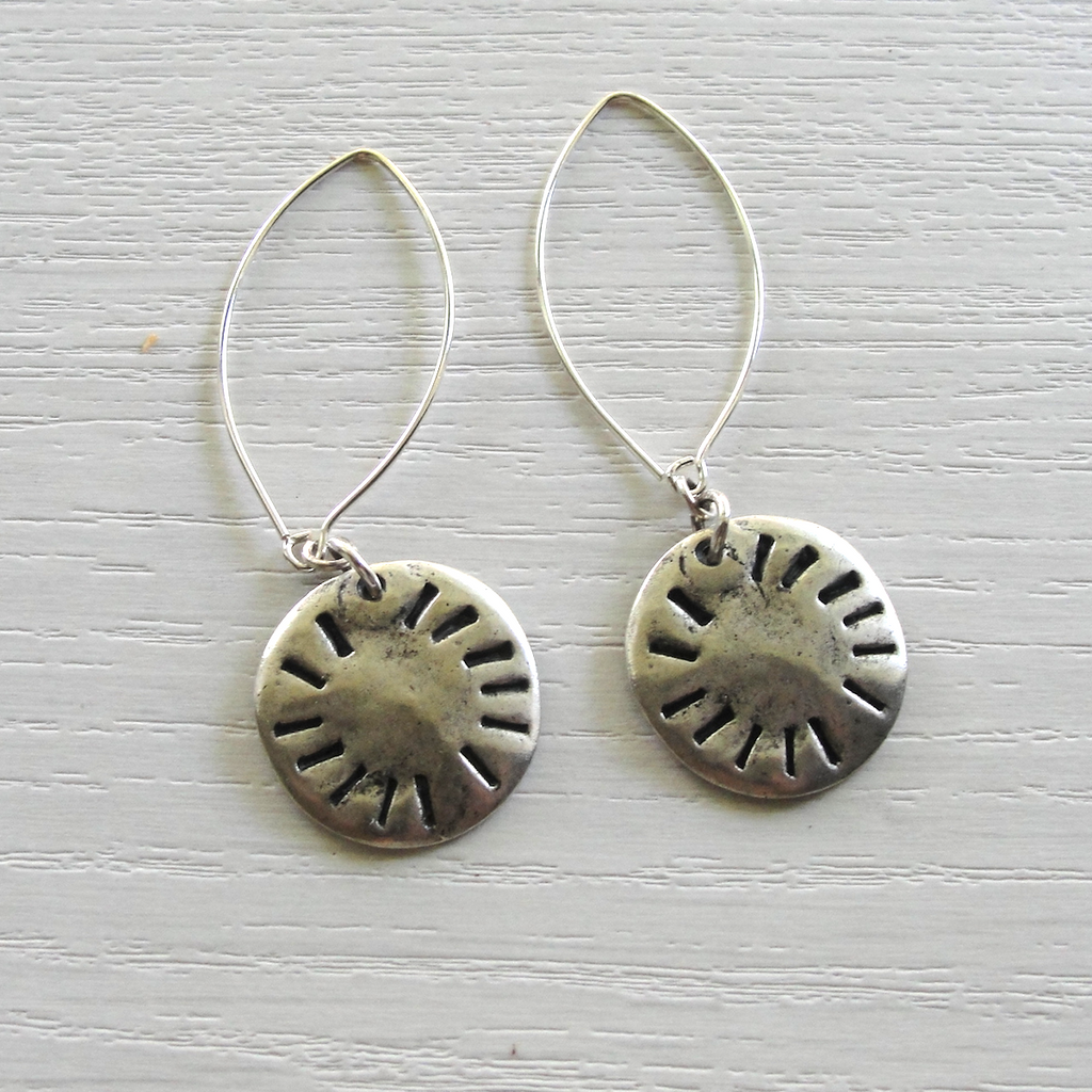 Silver Etched Round Dangle Earrings
