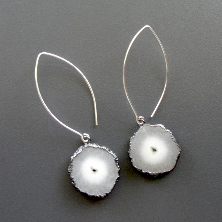 Silver & White Solar Quartz Earrings