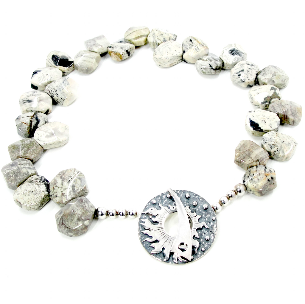 GRAY JASPER & SIVLER SUN NECKLACE