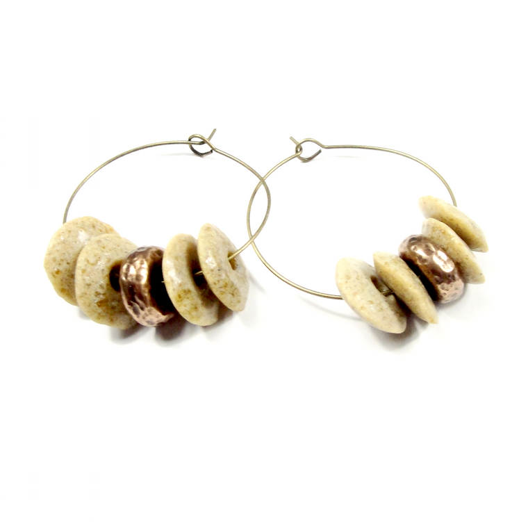 Tan & Bronze Ashanti Glass Hoop Earrings