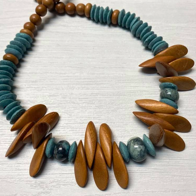 Blue Ahsanti, Wood and Gemstone Necklace