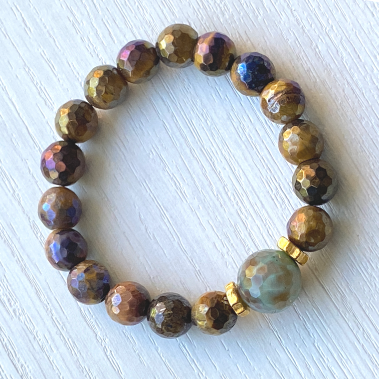 Golden Tiger Eye & Chrysoprase Stretch Bracelet