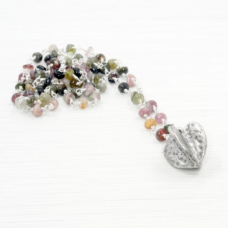 Tourmaline & Silver Heart Pendant Necklace