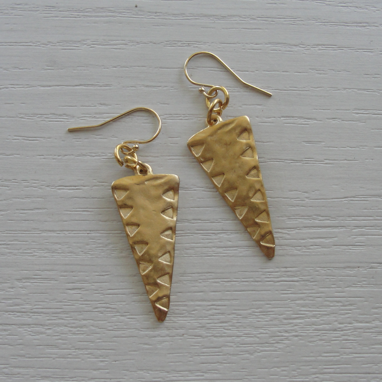 Matte Gold Etched Triangle Earrings