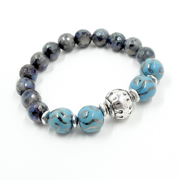 Tribal Style Laboradite, Blue & Silver Stretch Bracelet
