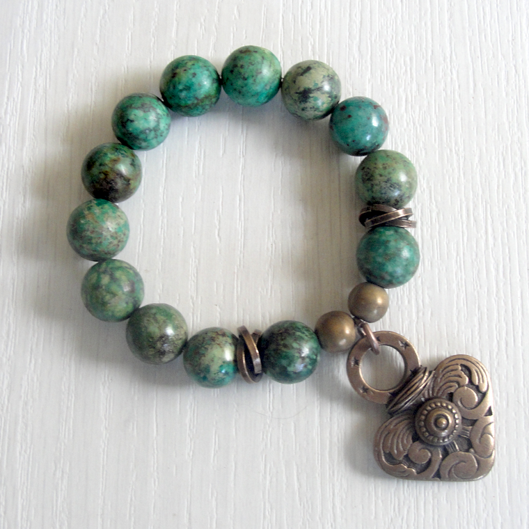 Turquoise and Bronze Heart Charm Stretch Bracelet