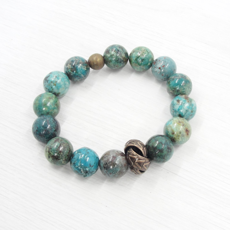 Turquoise and Bronze Love Knot Stretch Bracelet