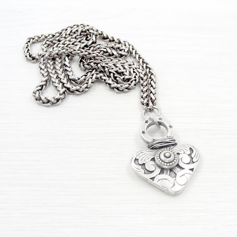 Antique Silver Detailed Heart Pendant Necklace