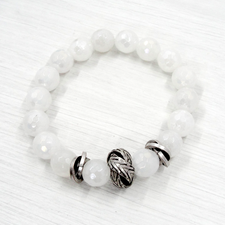 White Jade & Silver Love Knot Stretch Bracelet