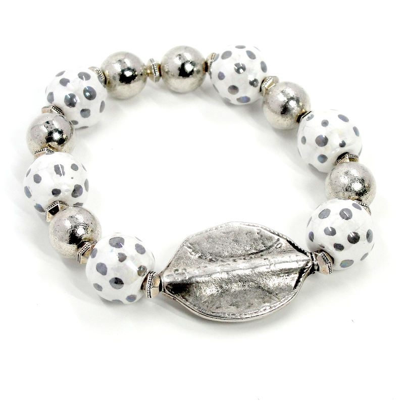 White & Silver Leaf Stretch Bracelet