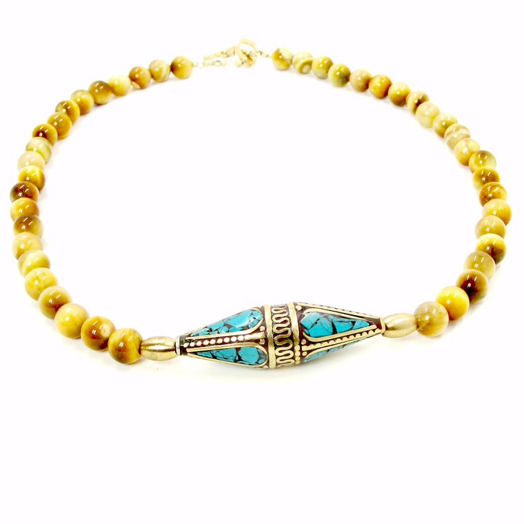 Yellow Tiger Eye & Turqoise Tibetan Pendant Necklace