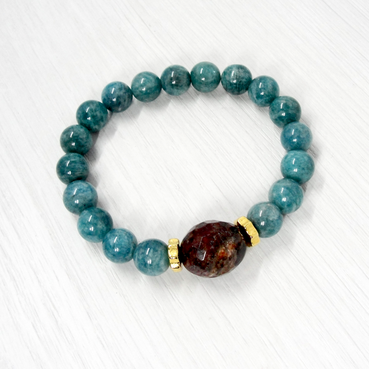Amazonite & Fossil Coral Stretch Bracelet