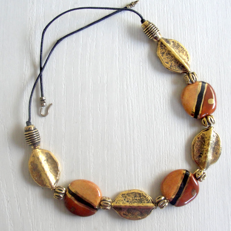 Amber Kazuri & Gold Leaf Statement Necklace