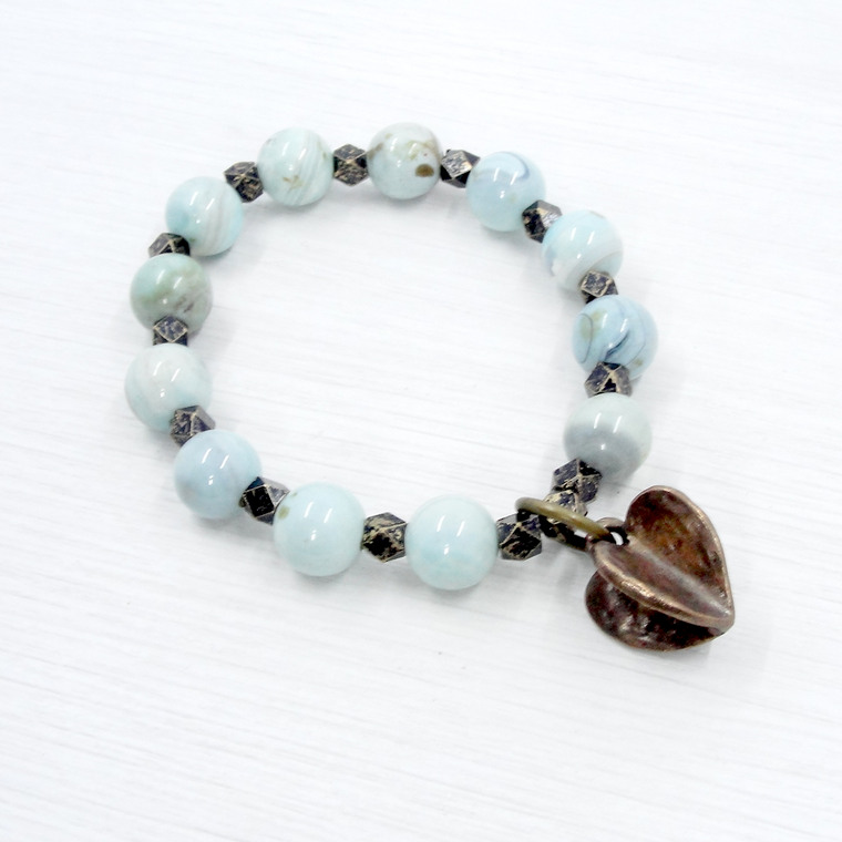 Blue Agate and Bronze Heart Stretch Bracelet