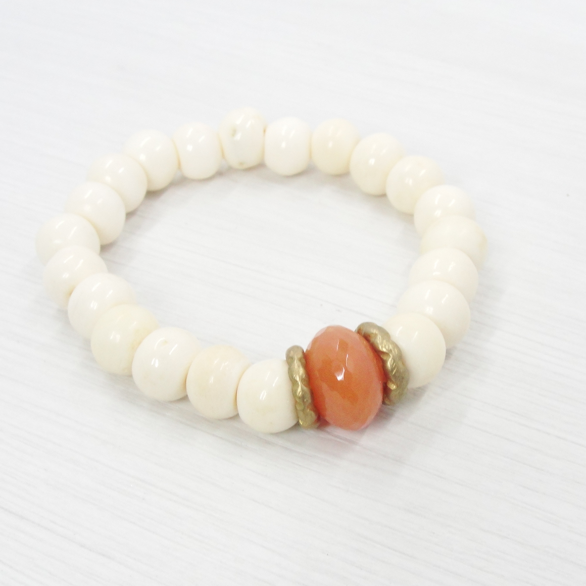 Bone & Carnelian Gemstone Stretch Bracelet