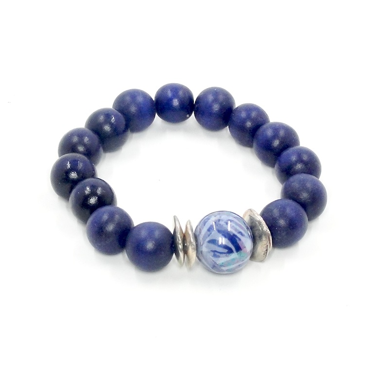 Dark Blue Wood Stretch Bracelet