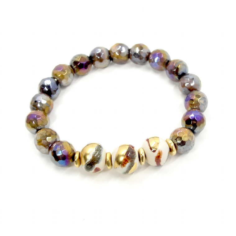 Golden Tiger Eye, Ivory Rust & Gold Stretch Bracelet