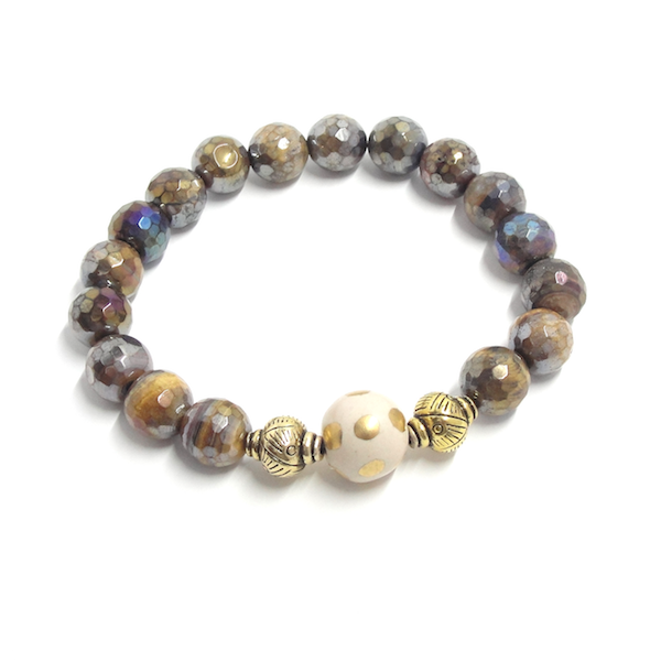 Golden Tiger Eye, Ivory & Antique Gold Stretch Bracelet