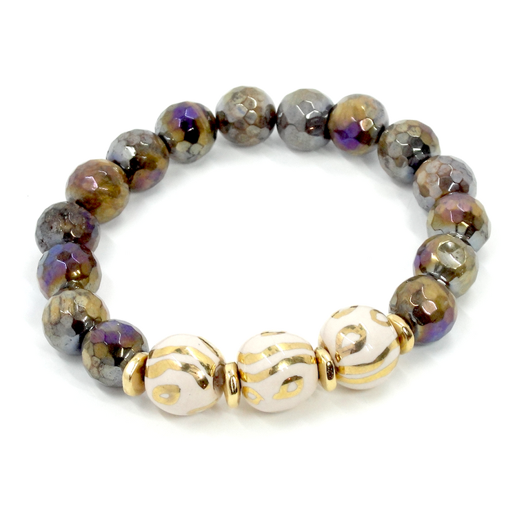Golden Tiger Eye, Ivory & Gold Stretch Bracelet