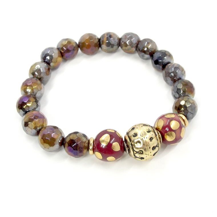 Golden Tiger Eye, Wine & Antique Gold Stretch Bracelet