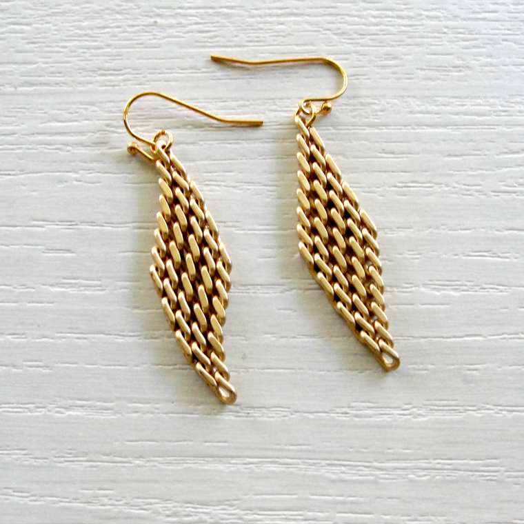 Gold Mesh Dangle Earrings