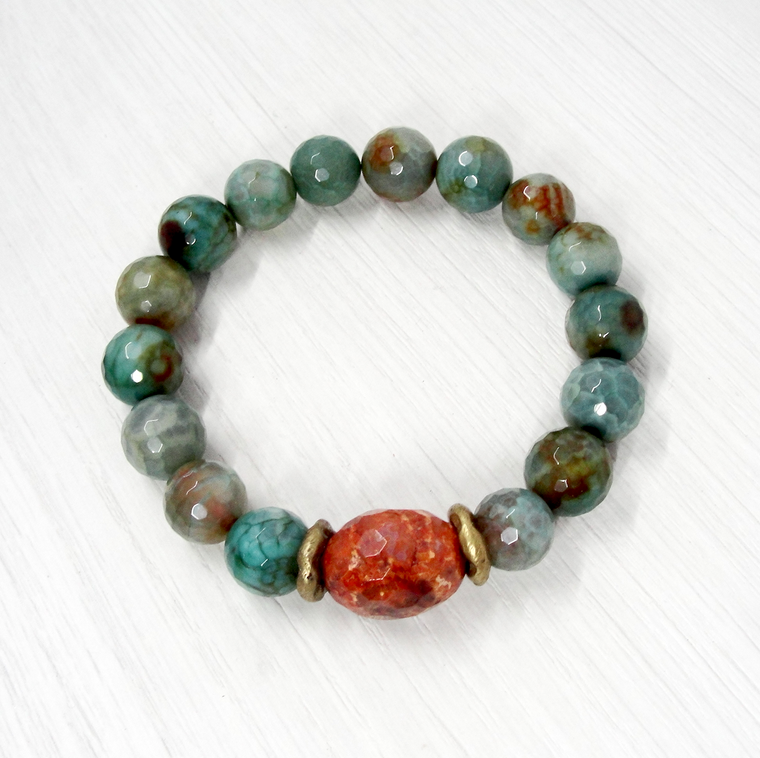 Green Agate & Fossil Coral Stretch Bracelet