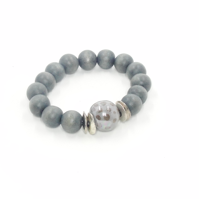 Grey Wood Stretch Bracelet