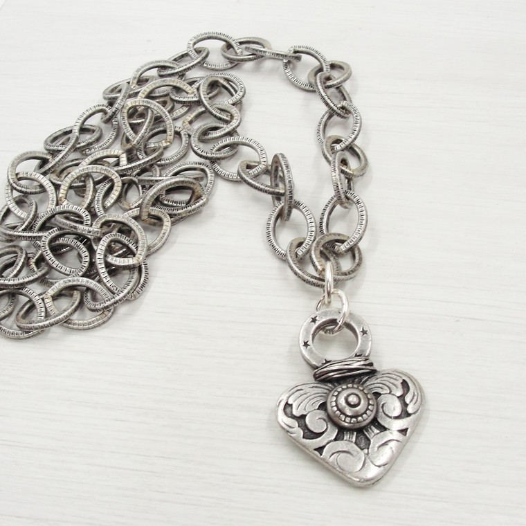 Silver Detailed Heart Pendant Necklace