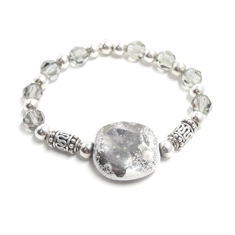 Swarovski Crystal & Sterling Silver Stretch Bracelet