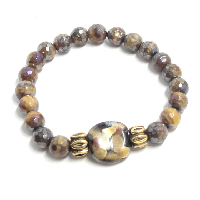 Golden Tiger Eye & Petite Bead Stretch Bracelet