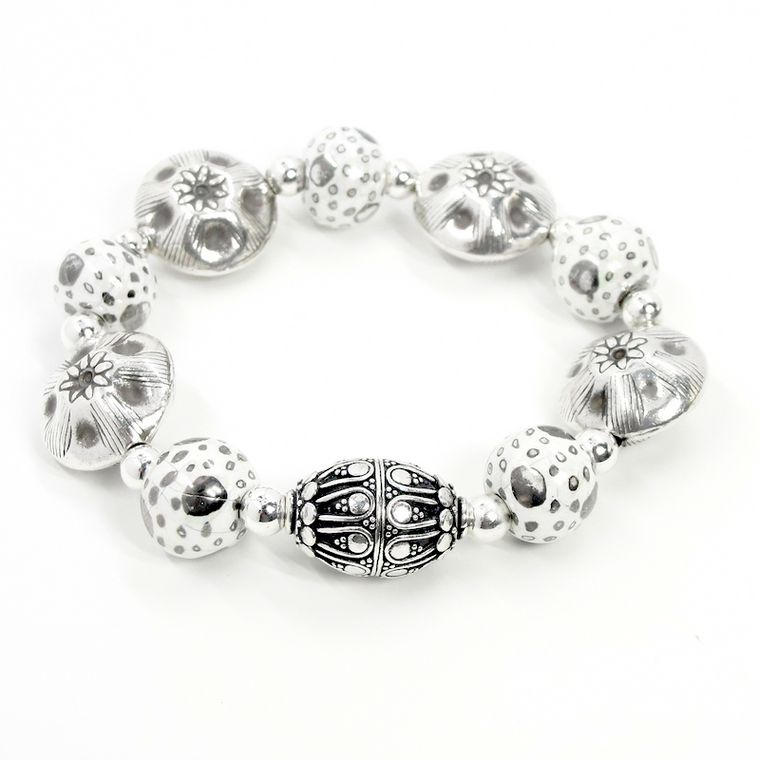 White & Sterling Silver Stretch Bracelet