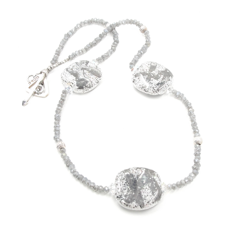Sterling Silver & Sparkling Laboradite Necklace