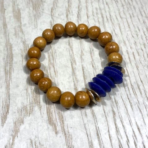 Blue Ashanti & Wood Stretch Bracelet