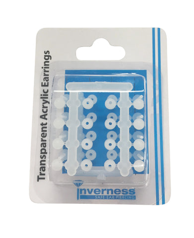 TRANSPARENT ACRYLIC EARRINGS 4 PACK BALL & FLAT
