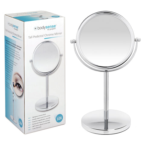 BODYSENSE TALL PEDESTAL CHROME MIRROR - 10X MAGNIFICATION