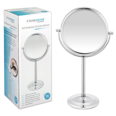BODYSENSE TALL PEDESTAL CHROME MIRROR - 7X MAGNIFICATION