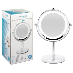 BODYSENSE PEDESTAL CHROME MIRROR LED - 5X MAGNIFICATION