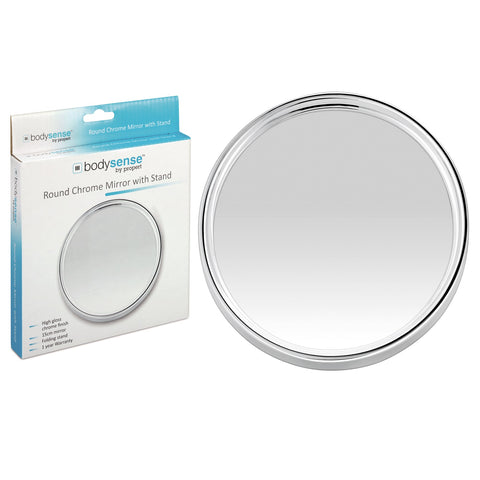 BODYSENSE ROUND CHROME MIRROR WITH STAND
