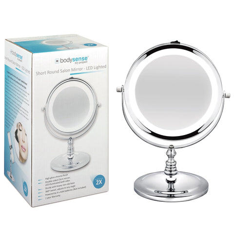 BODYSENSE SHORT ROUND SALON MIRROR LED - 2X MAGNIFICATION