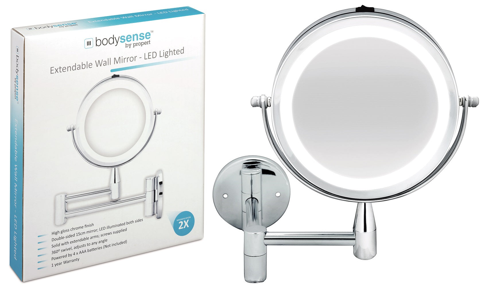 BODYSENSE EXTENDABLE WALL MIRROR LED - 2X MAGNIFICATION