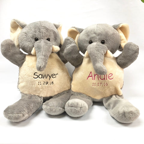 "Embroidery - SUPER SOFT 16"" Plush Elephant with name and birth date - FREE SHIPPING"