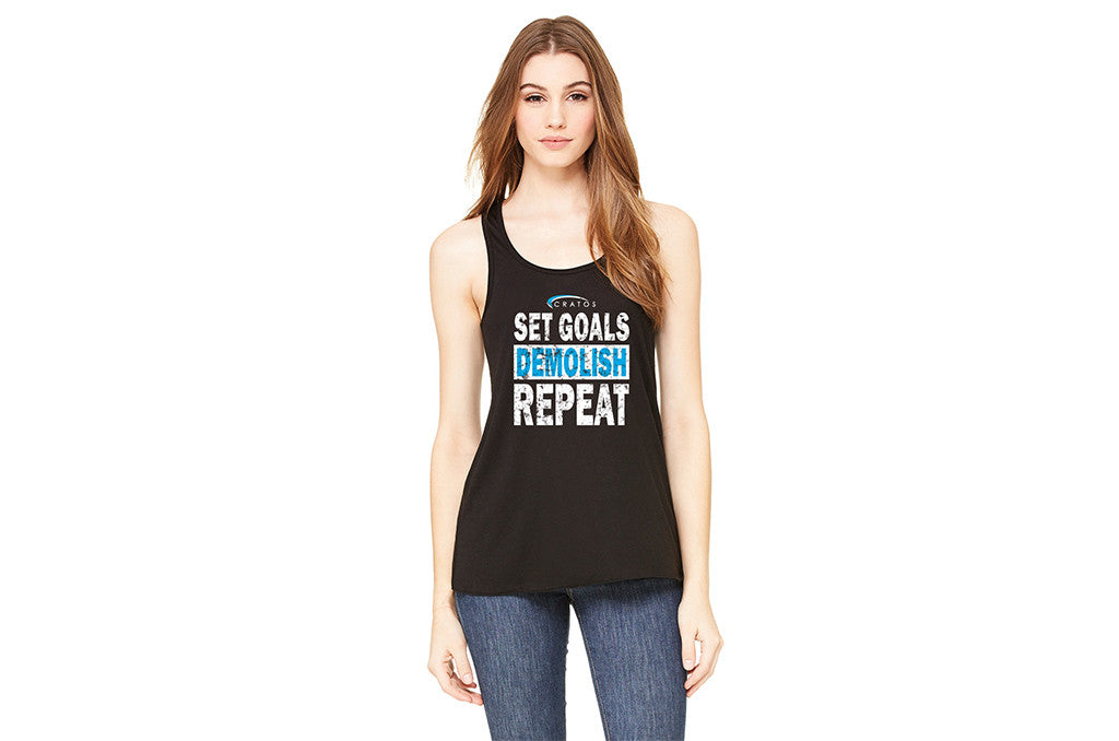 CRATOS - Set Goals, Demolish, Repeat - Black Ladies' Flowy Racerback Tank