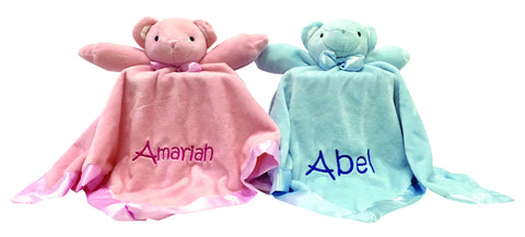 Embroidery - SUPER SOFT Lovey Blankie Bear in Pink or Blue - FREE SHIPPING